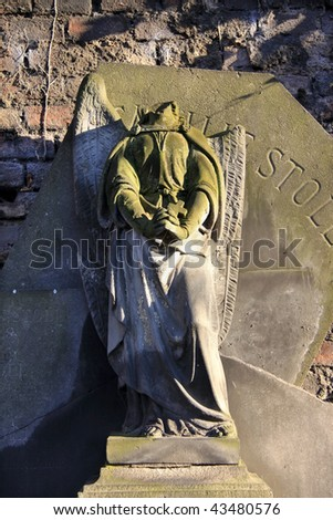 The Angel free from the Face on the old Prague Cemetery - stock photo