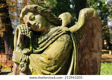 The Angel from the old Prague Cemetery, Czech Republic - stock photo