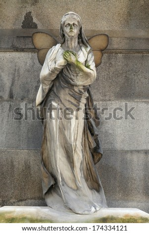 The Angel from with Butterfly Wings the old Prague Cemetery, Czech Republic - stock photo