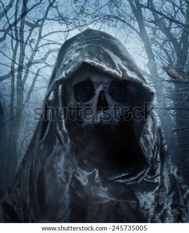 The angel of death. Demon of darkness. Photo manipulation.  - stock photo