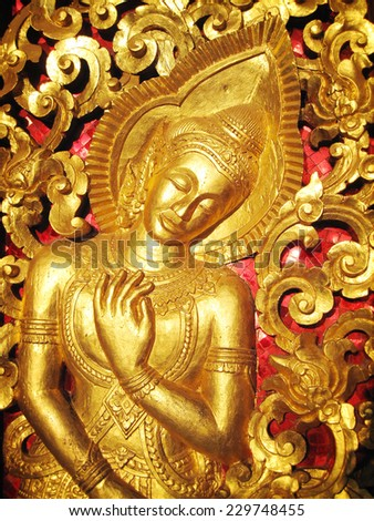 The Angle sculpture (Temple, Lao) - stock photo