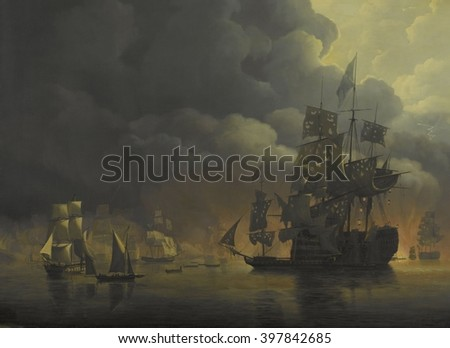 The Anglo-Dutch Fleet under Lord Exmouth and Vice Admiral Jonkheer Theodorus Frederik van Capellen putting out the Algerian Strongholds, August 27, 1816, by Nicolaas Baur, 1818, Dutch painting, oil on - stock photo