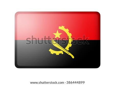 The Angolan flag. Rectangular matte icon. Isolated on white background. - stock photo