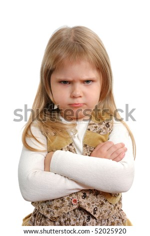 The angry little girl on a white background - stock photo