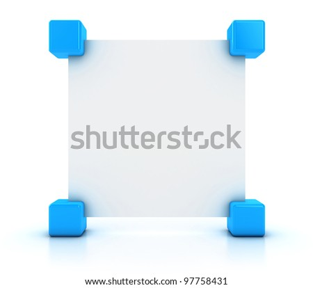 The announcement in the form of a white paper sheet - stock photo