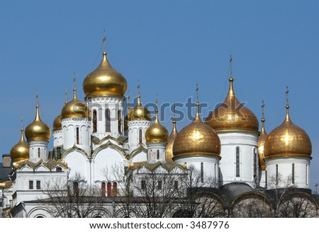 The Annunciation cathedral (left) and the Assumption cathedral (right) in Moscow Kremlin, Russia. - stock photo