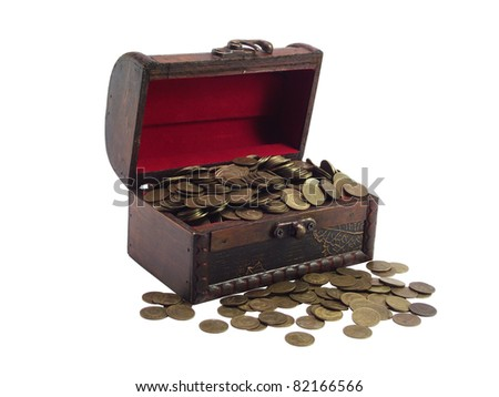 The antiquarian  wooden chest  with coins on a white background