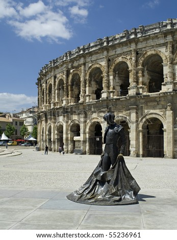 "The antique arena in ""Nimes"" in France"