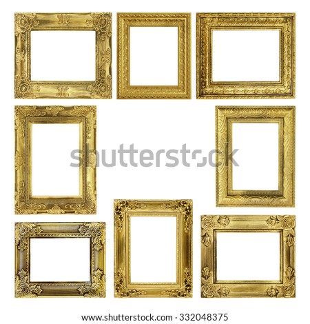 The antique frame on the white background