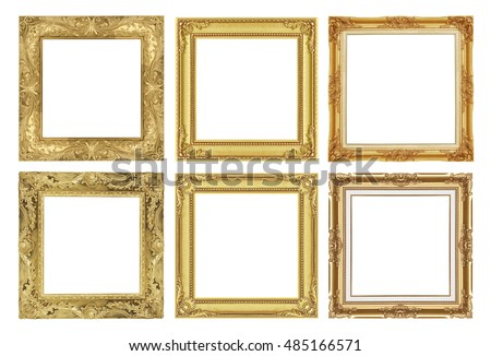 the antique gold frame collection isolated on white frame background