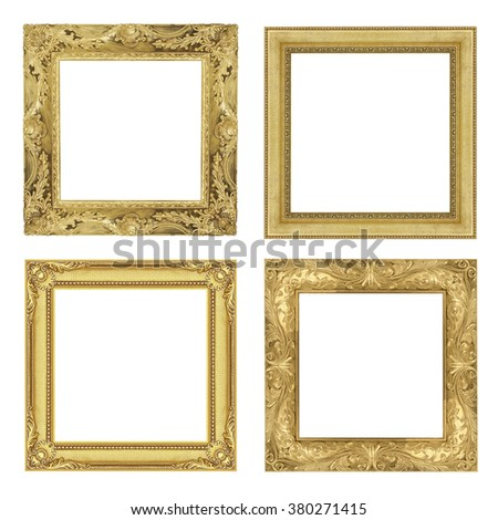 The antique gold frame isolated on white background