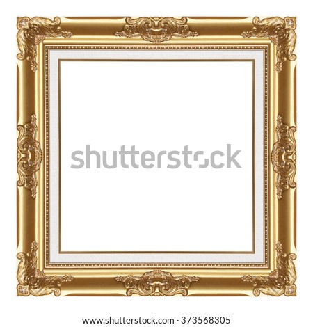 The antique gold frame isolated on white / frame background - stock photo