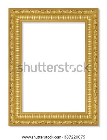 The antique gold frame on the white background