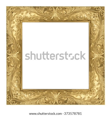 The antique gold frame on the white background/ Frame square
