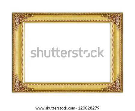 The antique gold frame on white background - stock photo