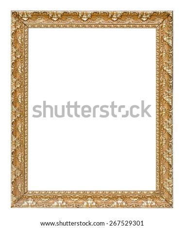 The antique gold vintage frame luxury premium isolated white background. - stock photo