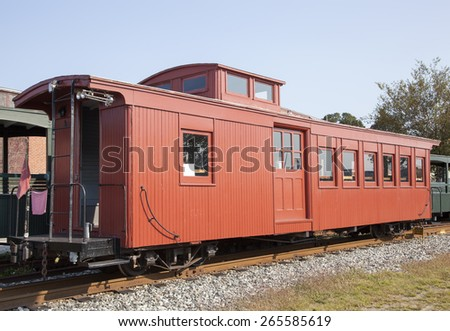 The antique wagon for passengers that used to ride on a narrow railway (Portland, Maine). - stock photo