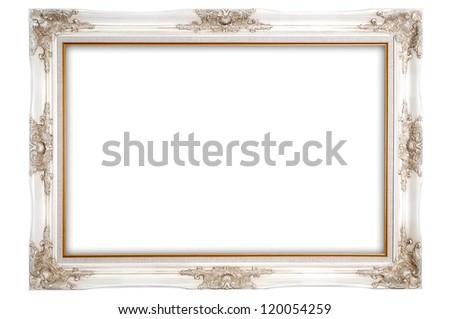 The antique white photo frame on the white background  louise style - stock photo