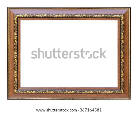 The antique wooden and gold frame on the white background