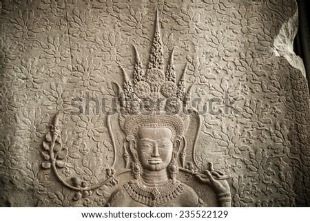 The Ap-sara decoration at the corner of Angkor wat, Seam Reap, Cambodia - stock photo