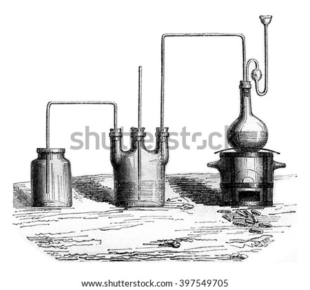 The apparatus for producing the chlorine gas, vintage engraved illustration. Magasin Pittoresque 1857. - stock photo