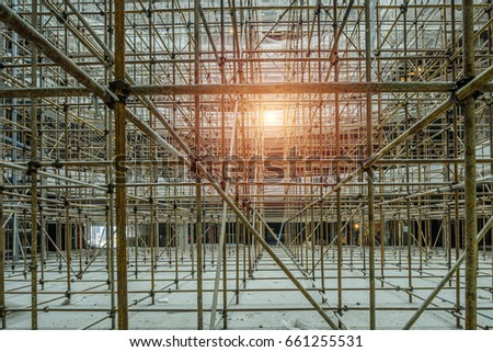Appearance Scaffold Building Interior Decoration Workers Stock Photo