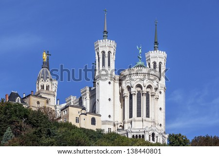 the apse of the basilica of notre dame de fourviere in the historical center of Lyon - stock photo