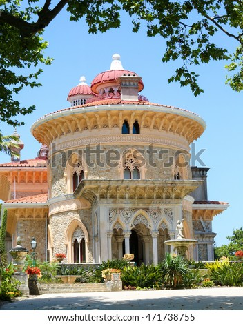The arabesque Monserrate Palace on a hilltop near the town of Sintra, Lisbon, Portugal
