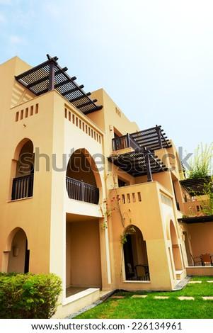 The arabic style villas in luxury hotel, Fujairah, UAE - stock photo