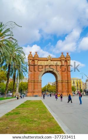 The Arc de Triomf, an archway structure built by the architect Josep Vilaseca i Casanovas. Barcelona, Spain. - stock photo