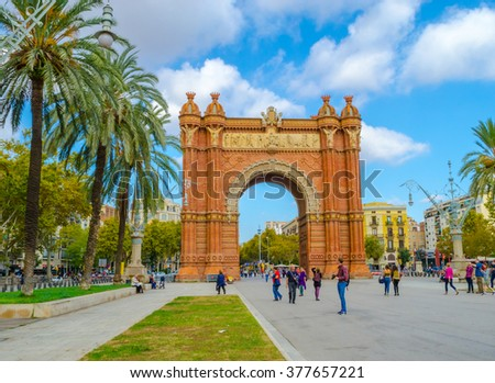 The Arc de Triomf, an archway structure built by the architect Josep Vilaseca i Casanovas. Barcelona, Spain. 29.09.2015