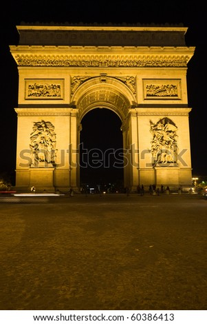 The Arc of Triomphe at night, Paris. France