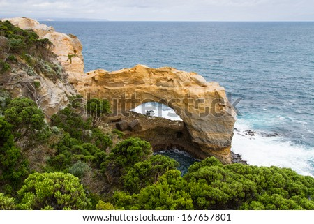 The Arch. Famous rock formations, Great Ocean Road, Victoria, Australia - stock photo