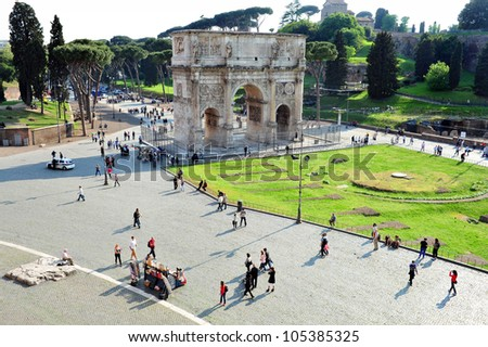 The Arch of Constantine as view from The Colosseum of Rome in Rome Italy. - stock photo