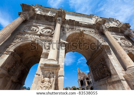 The Arch of Constantine near the Colosseum in Rome - stock photo