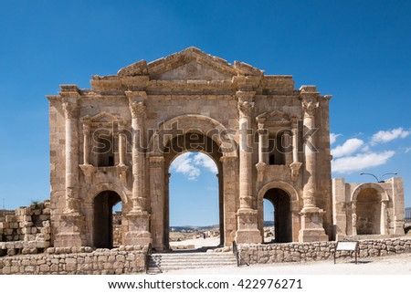 The arch of Hadrian, a gate in Jerash, Jordan