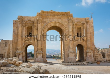 The Arch of Hadrian at Jerash in Jordan showing the rear view