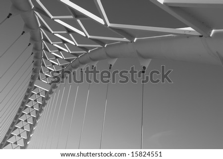 The arch of the Humber River suspension in Toronto, Ontario, Canada. - stock photo