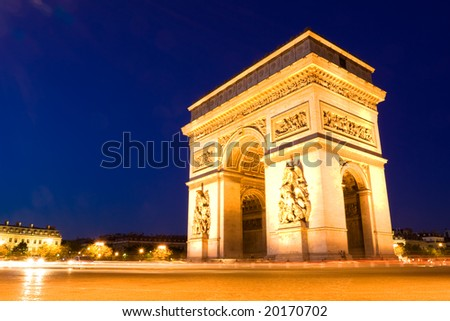 The Arch of Triumph at night. Paris - stock photo