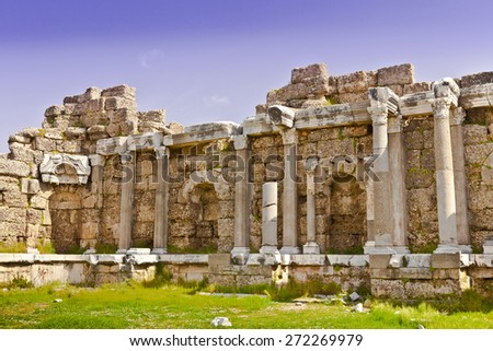 The archaeological site of byzantine hospital ruins in Side, Turkey. - stock photo