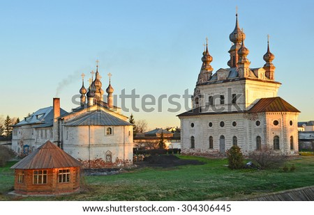 The Archangel Michael [Michaylo-Arkhangelsky] monastery in the city of Yuryev-Polsky at sunset. Golden ring of Russia - stock photo