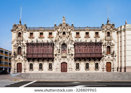 The Archbishop Palace of Lima is located on the Plaza Mayor of Lima, Peru - stock photo