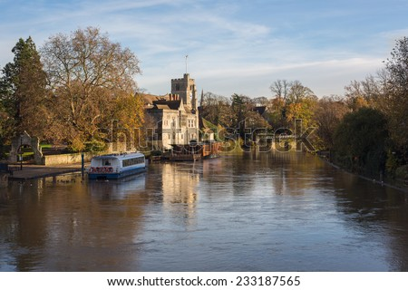 The Archbishops Palace was formally the fourteenth century residence of the Archbishops of Canterbury. It is situated on the banks of the River Medway in the centre of the County Town. - stock photo