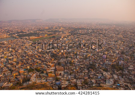 the architecture details of Nahagarh Fort which overlooks the pink city of Jaipur in the Indian state of Rajasthan - stock photo