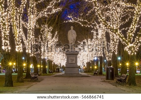 Back bay christmas lights stock images royalty free images the architecture of boston in massachusetts usa at night showcasing the christmas lights at boston sciox Images