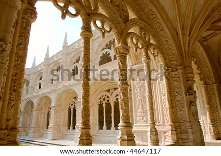 The architecture of the Mosteiro Dos Jeronimos, Lisbon, Portugal - stock photo