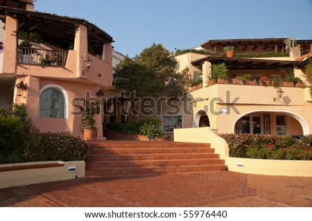 The area of Porto Cervo in Sardinia in the Mediterranean style - stock photo