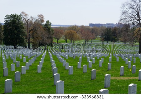 The Arlington Cemetery is the US military cemetery in which soldiers who died in national conflicts since the Civil War are Buried. - stock photo