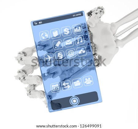 The arm holds a prototype of the transparent phone - stock photo