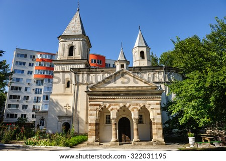 The Armenian Apostolic Church of the Holy Virgin, Chisinau, Republic of Moldova. Was built in 1804 in place of old Orthodox one wich have been destroyed in Russian-Ottoman war. - stock photo
